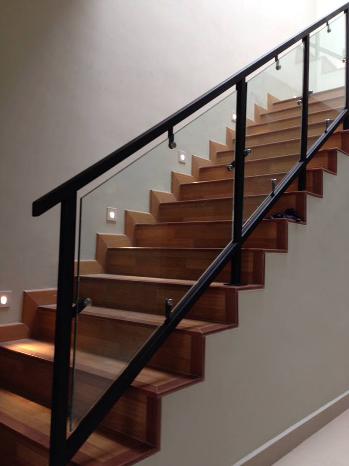 Mild Steel Staircase Glass Staircase Staircase Railing With Glass 12mm Tempered Glass