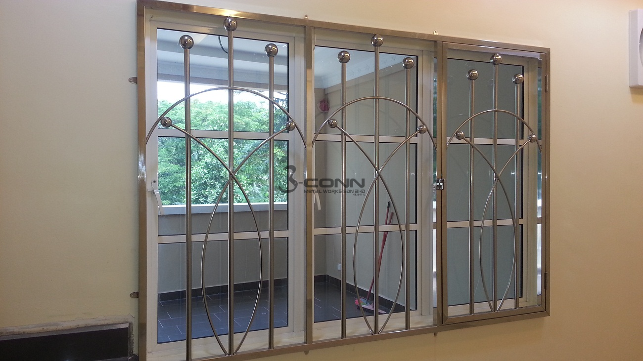Mild steel window grill design the for Window design metal