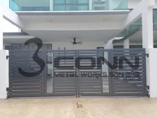 Mild Steel Main Gate with Aluminium Plate And Glass