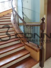Wrought Iron Staircase c/w Wooden Handrail