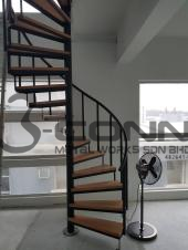 Mild Steel Spiral Staircase with Wooden Steps