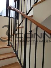Mild Steel Staircase Railing with Wooden Handrail