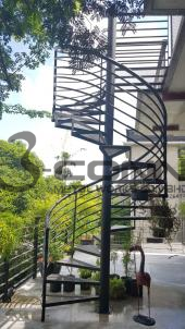 Mild Steel Spiral Staircase with Checker Plate Steps