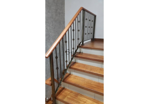 Wrought Iron Handrail with Wooden Topping