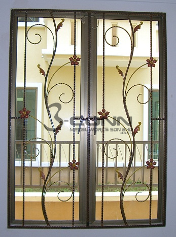 Wrought iron window grill window grill design grills for Iron window design house